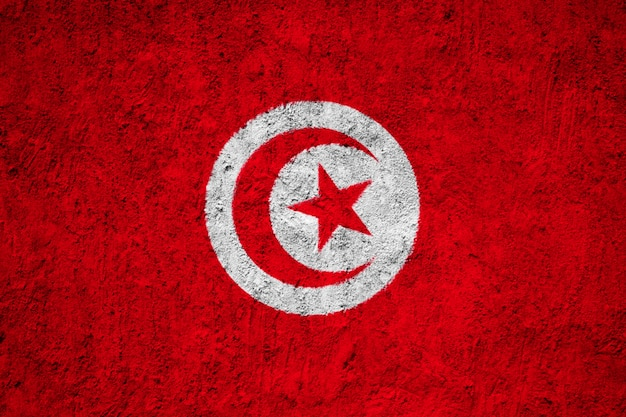 Drapeau tunisien peint sur le mur de grunge