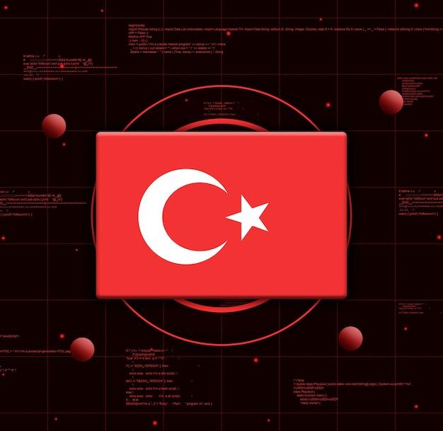 Drapeau de la turquie avec des éléments technologiques réalistes, rendu 3d