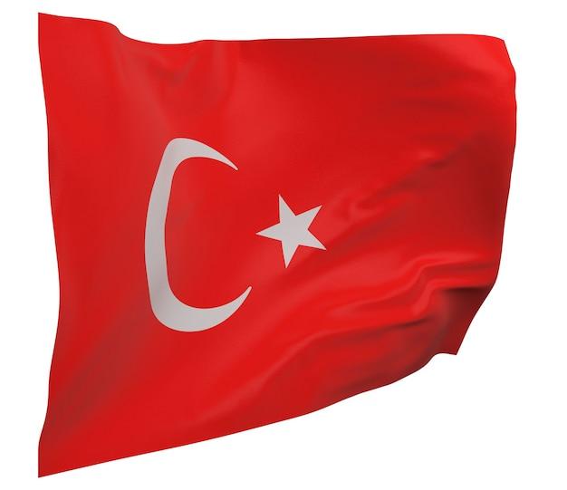 Drapeau de la turquie isolé. agitant la bannière. drapeau national de la turquie