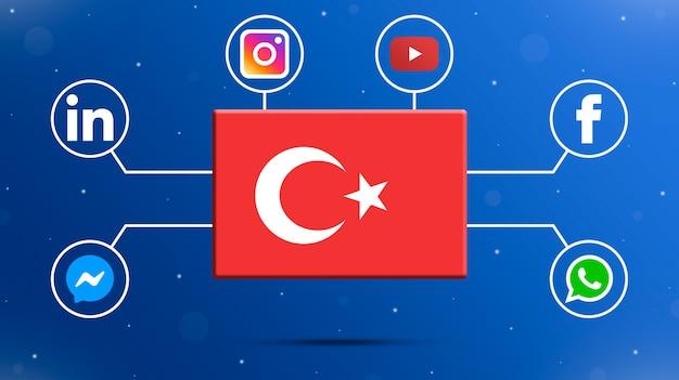 Drapeau de la turquie avec des logos de médias sociaux 3d