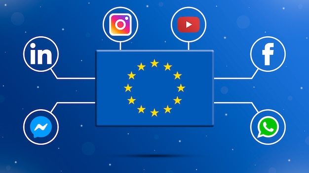Drapeau de l'ue avec logos de médias sociaux 3d