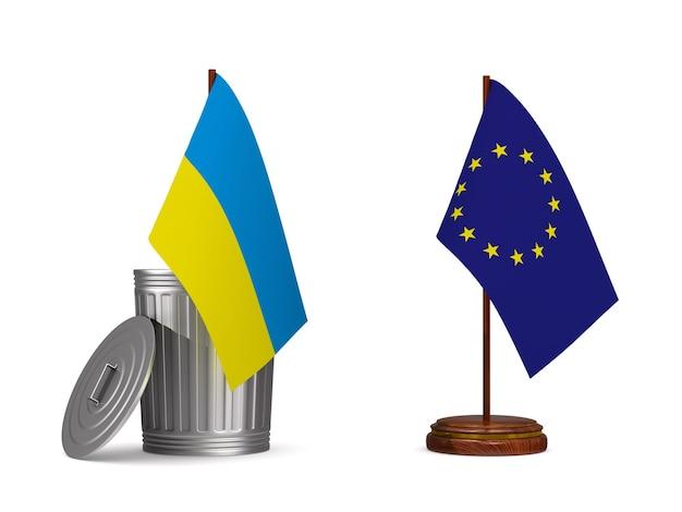 Drapeau de l'ue et de l'ukraine sur une surface blanche. illustration 3d isolée.
