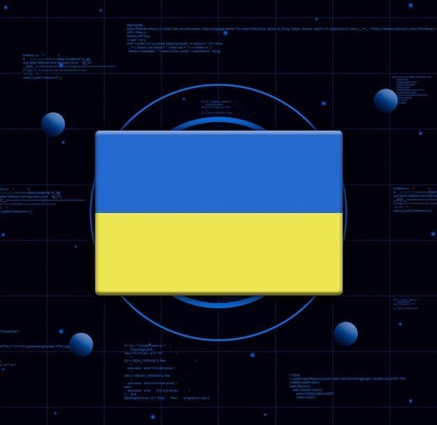 Drapeau de l'ukraine avec des éléments technologiques réalistes, rendu 3d