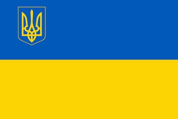 Drapeau de l'ukraine avec trident