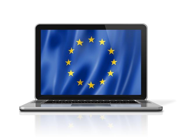 Drapeau de l'union européenne sur écran d'ordinateur portable isolé sur blanc. rendu d'illustration 3d.