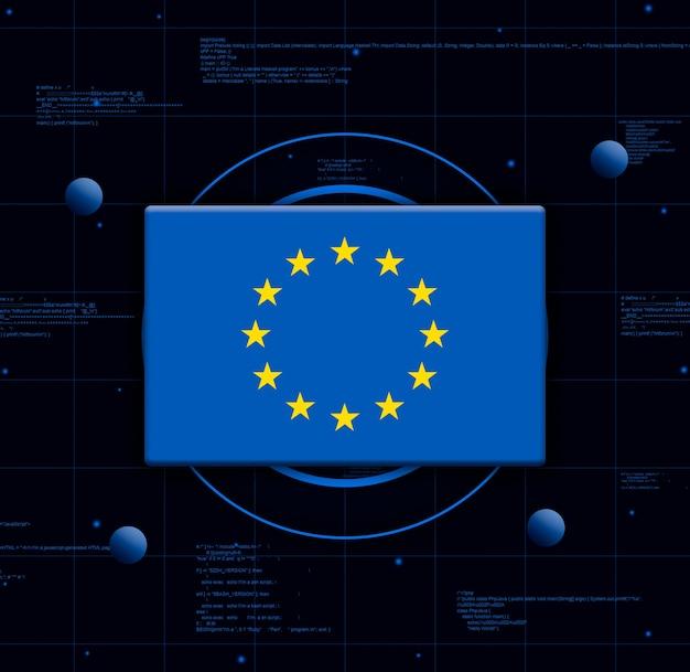 Drapeau de l'union européenne avec des éléments technologiques réalistes, rendu 3d