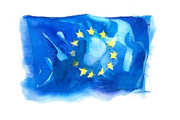Drapeau de l'union européenne peint à l'aquarelle