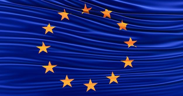 Drapeau de l'union européenne de soie, drapeau ondulant de l'union européenne, rendu 3d