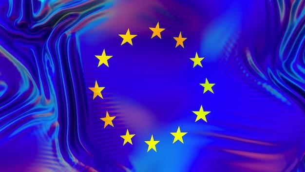Drapeau de l'union européenne de l'ue avec des reflets arc-en-ciel lgbt.