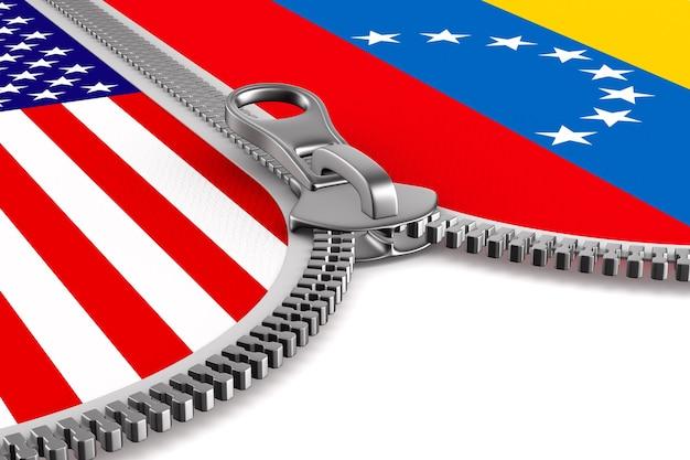 Drapeau venezuela et usa et fermeture éclair. illustration 3d.