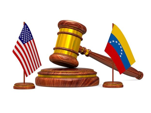 Drapeau venezuela et usa et marteau en bois sur une surface blanche. illustration 3d isolée.