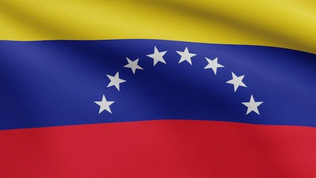 Drapeau vénézuélien en 3d sur le vent. gros plan sur la bannière du venezuela soufflant, soie douce et lisse. fond d'enseigne de texture de tissu de tissu.