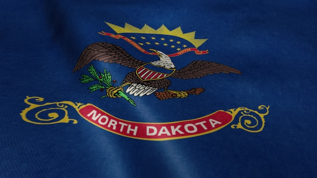 Drapeau de la vidéo du dakota du nord ondulant dans le vent.