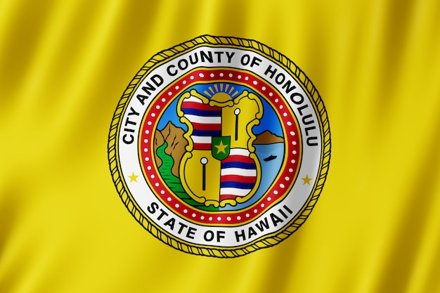 Drapeau de la ville d'honolulu, hawaii (us)
