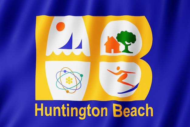 Drapeau de la ville de huntington beach, californie (états-unis)