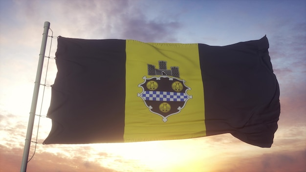 Drapeau de la ville de pittsburgh, pennsylvanie, ondulant dans le vent, le ciel et le soleil. rendu 3d