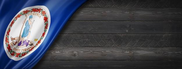 Drapeau de la virginie sur mur en bois noir, usa. rendu 3d