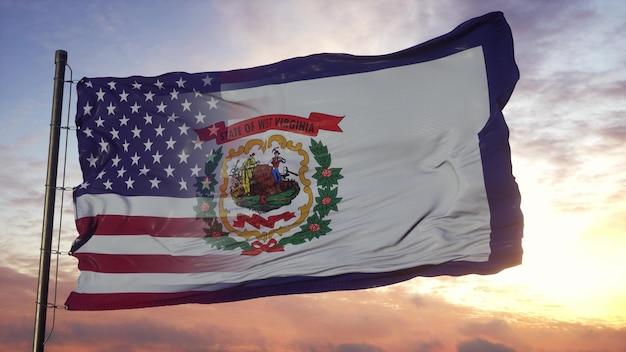 Drapeau de la virginie-occidentale et des usa sur le mât. drapeau mixte usa et virginie-occidentale dans le vent