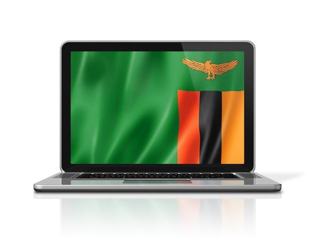 Drapeau de la zambie sur écran d'ordinateur portable isolé sur blanc. rendu d'illustration 3d.
