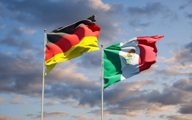 Drapeaux de l'allemagne et du mexique. illustration 3d