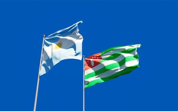 Drapeaux de l'argentine et de l'abkhazie. illustration 3d