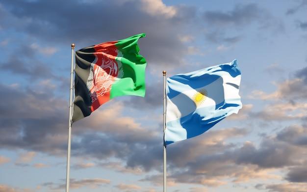 Drapeaux de l'argentine et de l'afghanistan. illustration 3d