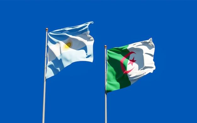 Drapeaux de l'argentine et de l'algérie. illustration 3d