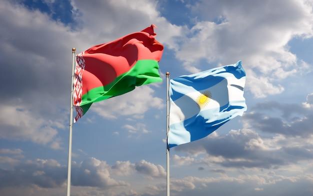 Drapeaux de l'argentine et de la biélorussie