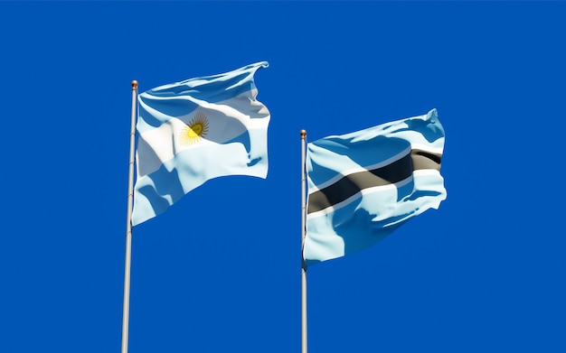 Drapeaux de l'argentine et du botswana.