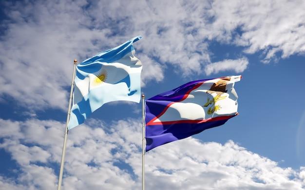Drapeaux de l'argentine et des samoa américaines. illustration 3d
