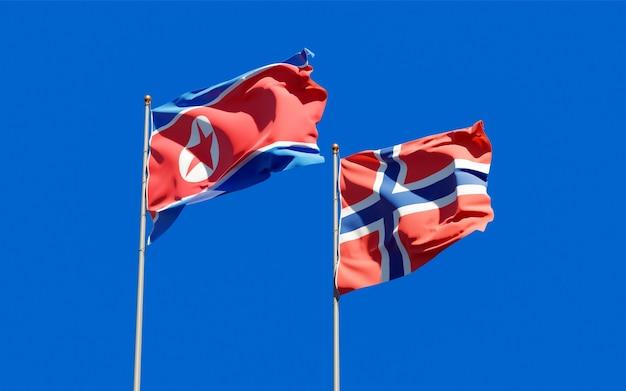 Drapeaux de la corée du nord et de la norvège. illustration 3d