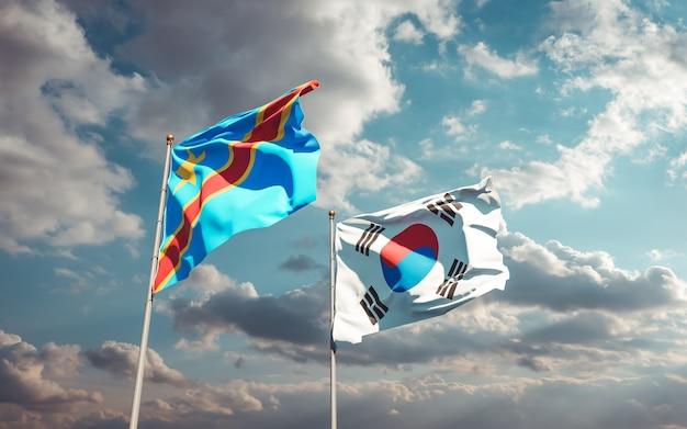 Drapeaux de la corée du sud et de la rd congo. illustration 3d
