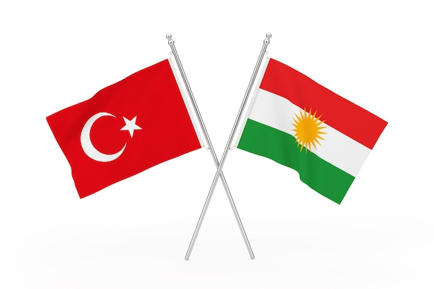Drapeaux croisés de la turquie et du kurdistan sur un fond blanc. rendu 3d