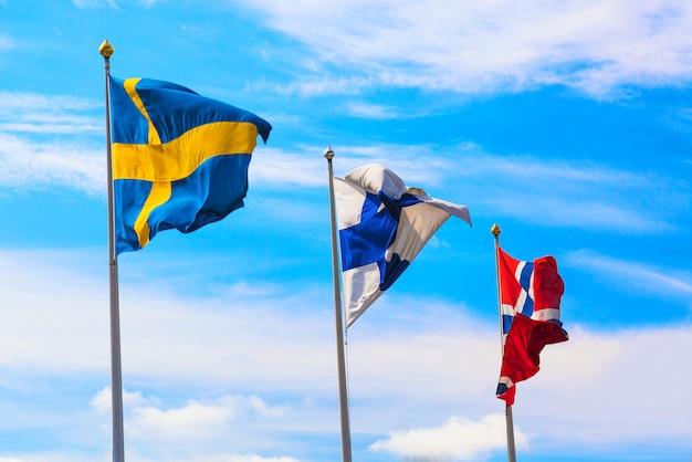 Drapeaux de différents pays ondulant dans le ciel bleu