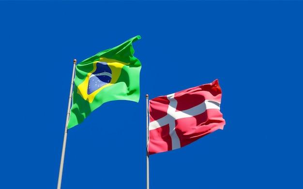 Drapeaux du brésil et du danemark