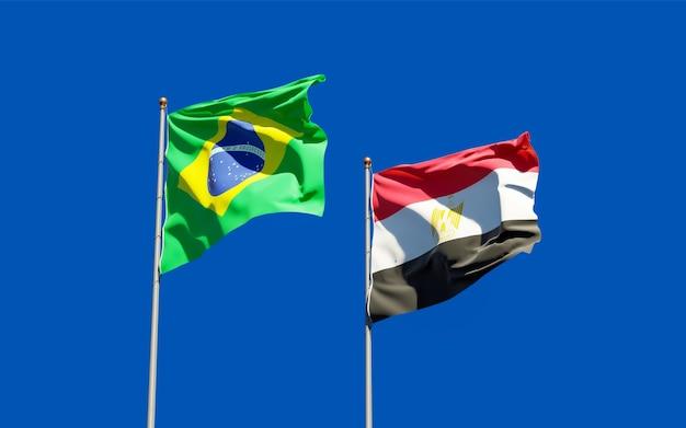 Drapeaux du brésil et de l'égypte. illustration 3d