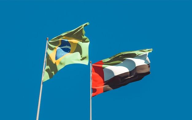 Drapeaux du brésil et des emirats arabes unis. illustration 3d