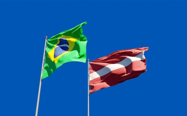 Drapeaux du brésil et de la lettonie