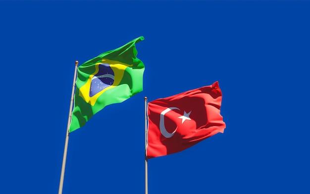 Drapeaux du brésil et de la turquie. illustration 3d