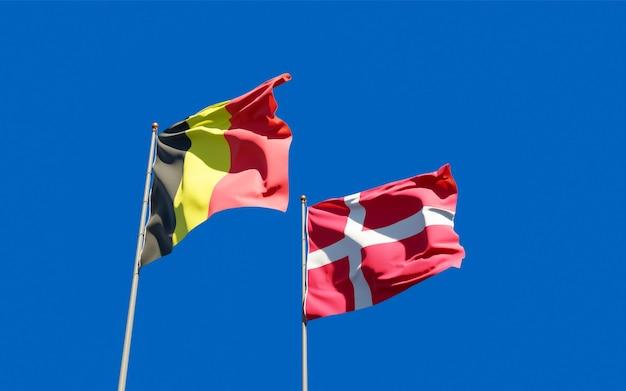 Drapeaux du danemark et de la belgique.