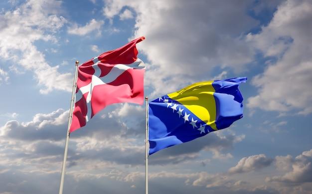 Drapeaux du danemark et de la bosnie-herzégovine.