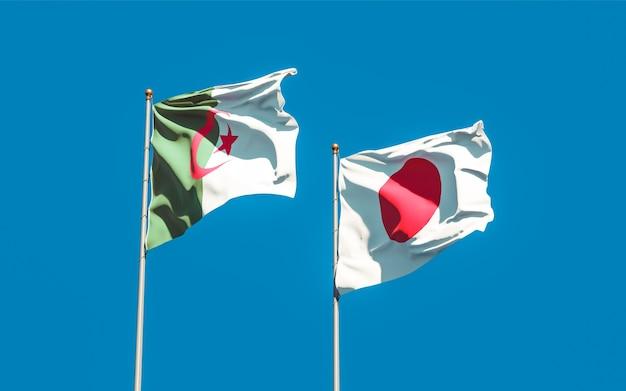 Drapeaux du japon et de l'algérie. illustration 3d