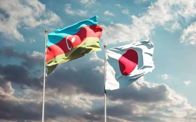Drapeaux du japon et de l'azerbaïdjan. illustration 3d