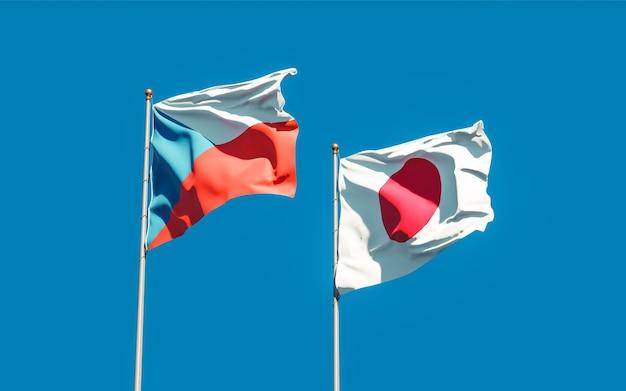 Drapeaux du japon et du tchèque. illustration 3d