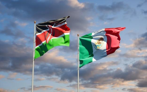 Drapeaux du kenya et du mexique. illustration 3d
