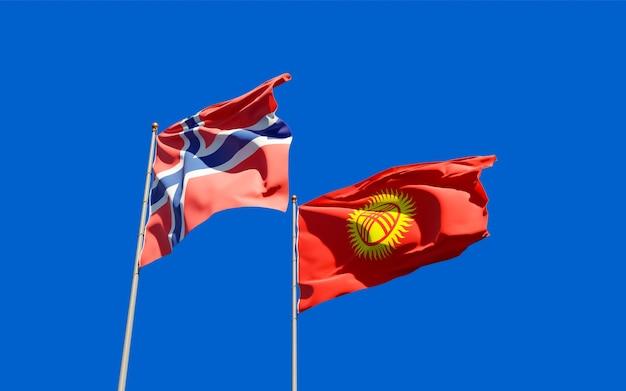 Drapeaux du kirghizistan et de la norvège