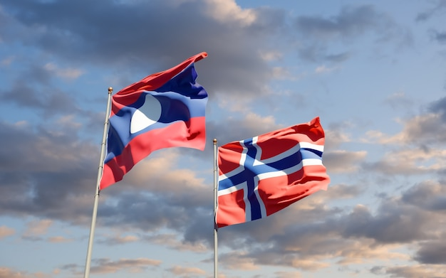 Drapeaux du laos et de la norvège