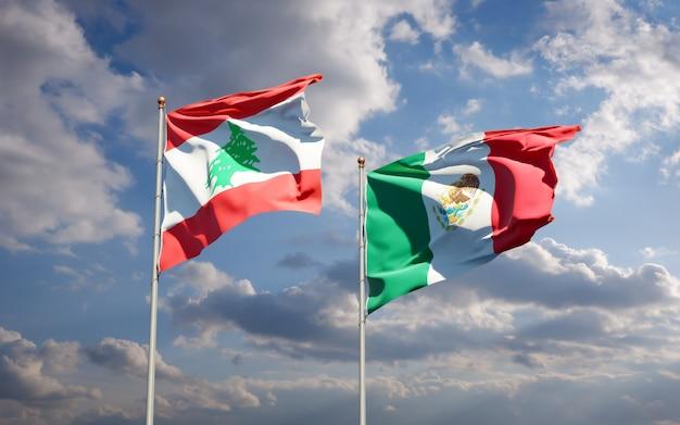 Drapeaux du liban et du mexique. illustration 3d