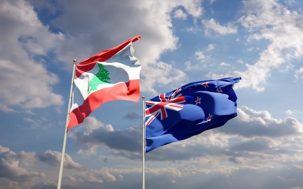 Drapeaux du liban et de la nouvelle-zélande. illustration 3d