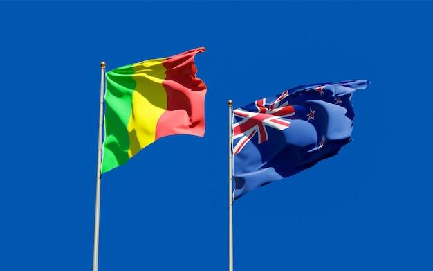 Drapeaux du mali et de la nouvelle-zélande
